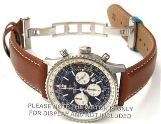 22mm Brown Leather strap White Stitchingon deployant buckle Fits Breitling Navitimer