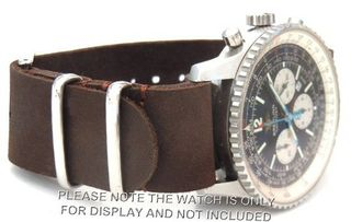 22mm Custom Hand made Dark brown NATO genuine leather strap fits Breitling Navitimer