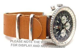 22mm Custom Hand made Tan NATO genuine leather strap fits Breitling Navitimer