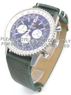 22mm Green Custom made NATO genuine leather strap fits Breitling Navitimer