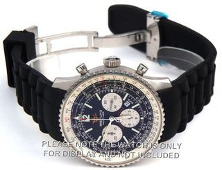 22mm High grade silicon 'soft touch' rubber oyster pattern with curved lugs on deployment buckle Fits Breitling Navitimer