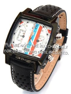 22mm Rally Perforated Leather strap contrast white stitching for TAG Heuer Carrera or Monaco