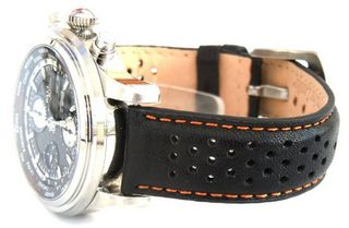 22mm Rally Perforated ORANGE stitched Black Leather strap For BALL WATCHES