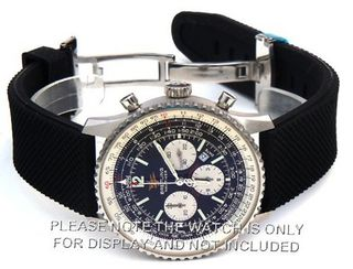 22mm Textured Silicon Rubber strap Distinctive textured top surface on Stainless Steel Deploymen Fits Breitling Navitimer
