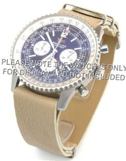 uEIEI 22mm Cream Custom made NATO genuine leather strap fits Breitling Navitimer