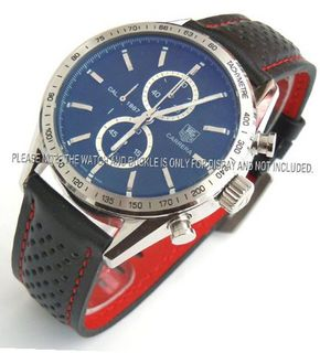 uEIEI TAG Heuer Carrera Motorsport 22mm Leather Strap Red Stitching