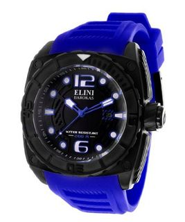 Commander Black Textured Dial Blue Silicone