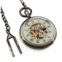 Copper Blank Back Skeleton Dial Mechanical Pocket with Chain WP106