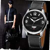 Elegant Personality Quartz Male Simplicity Fashion Cool Temperament Leisure Analog Display Black Leather Belt White Number Round Surface WE8533G-B