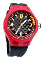 Ferrari 0830006 scuderia pit crew checker dial black silicone band men NEW