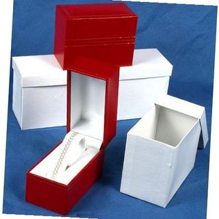 3 Red Leather Bracelet Boxes Gift Displays
