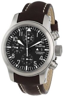 Fortis 656.10.11 L.16 B-42 Flieger Automatic Black Luminous Dial Brown Leather Water-Resistant