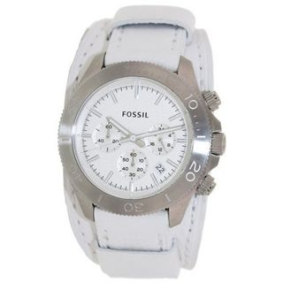 Fossil CH2858 Retro Traveler Chronograph White Leather Strap