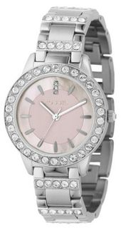Fossil ES2189 Stainless Steel Bracelet Pink Mother-Of-Pearl Glitz Analog Dial