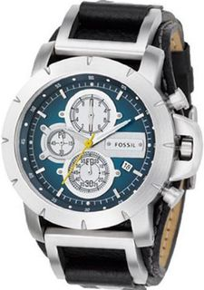 Fossil JR1156 Black Leather Strap Blue Analog Dial Chronograph