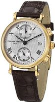 Frederique Constant Classics Silver Dial Chronograph Brown Leather Ladies FC-291MC2R5