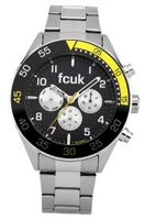 Fcuk Quartz with Black Dial Chronograph Display and Silver Stainless Steel Bracelet FC1115B