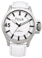 Fcuk Quartz with White Dial Analogue Display and White Leather Strap FC1140W