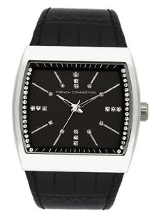 French Connection FC1071SB Classic Glossy Black Croco Leather Square Stainless Steel Case