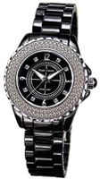 Black Ceramic with Crystal in 18K White Gold Plated Stainless Steel (128925)