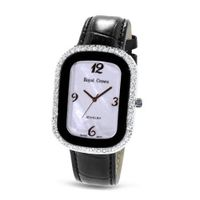 Black Genuine Leather with Crystal in 18K Rose Gold Plated Stainless Steel (128904)