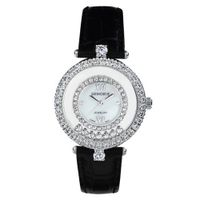 Black Genuine Leather with Crystals in 18K White Gold Plated Stainless Steel (128943)