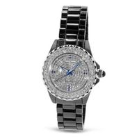 Fashion Black Band with Crystal in 18K White Gold Plated Stainless Steel (128928)