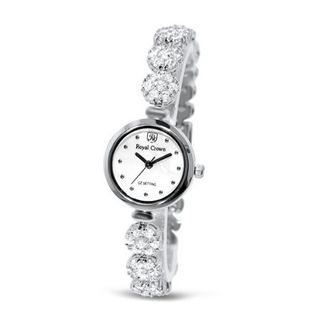 Fashion with Crystal in 18K White Gold Plated Stainless Steel (128913)