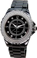Gemorie Black Ceramic Round Shape with Cubic Zirconia in Rhodium Plating (129019)
