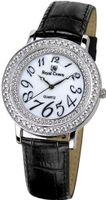 Gemorie Black Genuine Leather Fashion with Cubic Zirconia in Rhodium Plating (128948-BK)