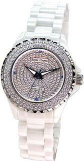 White Ceramic with Crystal in 18K White Gold Plated Stainless Steel (128927)