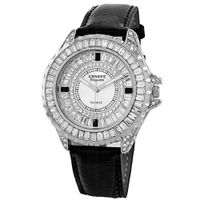 Geneve Elegante Unisex 5154_black Swarovski Crystal Leather