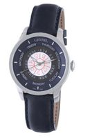 Gevril 2000 Automatic Stainless Steel Blue Hand Made Leather Day Date
