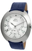 gino franco 901BL Round Stainless Steel Genuine Leather Strap