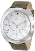 gino franco 901GR Round Stainless Steel Genuine Leather Strap