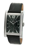 gino franco 902BK Stainless Steel Case and Genuine Leather Strap