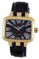 Gio Monaco 215G-A Hollywood Rectangular Rose Gold PVD Black Alligator Leather