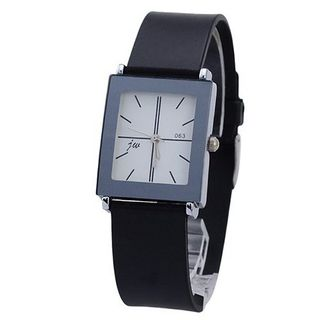 063 Simple Vogue Stainless Steel Silicone Band Quartz Movement Casual -White Quadrate Dial