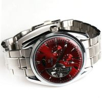 Goer Classic Stainless Steel Army Military  Auto Mechanical Wrist Red