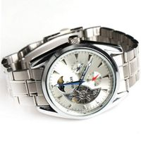 Goer Classic Stainless Steel Army Military  Auto Mechanical Wrist White