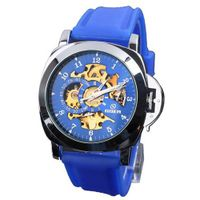 Goer Fashion  Blue Silicone Rubber Skeleton Mechanical Wrist