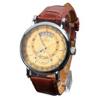 GOER Fashion  Date Calendar Brown Leather Band Mechanical Unisex Wrist