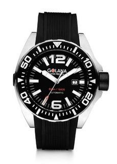 Golana Advanced Aqua Automatic with Black Dial Analogue Display and Black Rubber Strap ADQ100-1