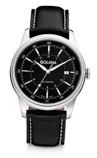 Golana Advanced Automatic with Black Dial Analogue Display and Black Leather Strap AD400-1