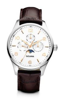Golana Classic Moon Phase Quartz with Silver Dial Analogue Display and Brown Leather Strap CL200-3