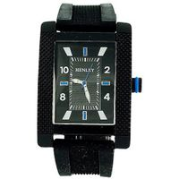 Henley Analogue Rectangular Black Dial Black Rubber Strap H02063.6