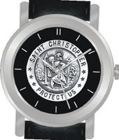 """St. Christopher Protect Us"" Is the Inspirational Image on the Dial of the Unisex Size Brushed Chrome Round Case with Black Leather Strap"