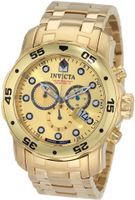 Invicta 0074 Pro Diver Chronograph 18k Gold Plated Stainless Steel