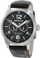 Invicta 0764 II Collection Black Dial Black Leather