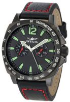 Invicta 0857 II Collection Stainless Steel and Black Leather